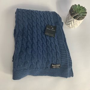 Roca Home Lambswool Cable Knit Throw Blanket